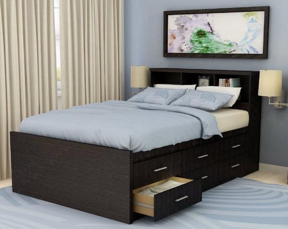 12 drawer queen storage bed