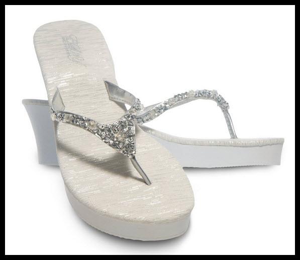 Dressy silver flip flops - b