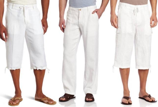 Mens white linen beach pants - 2