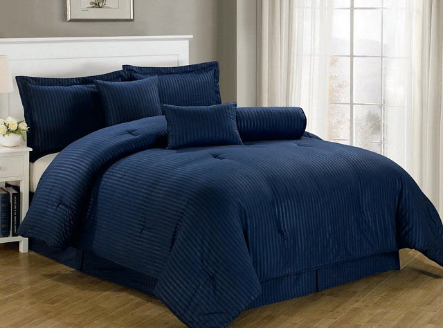 Navy blue comforter sets - king - b
