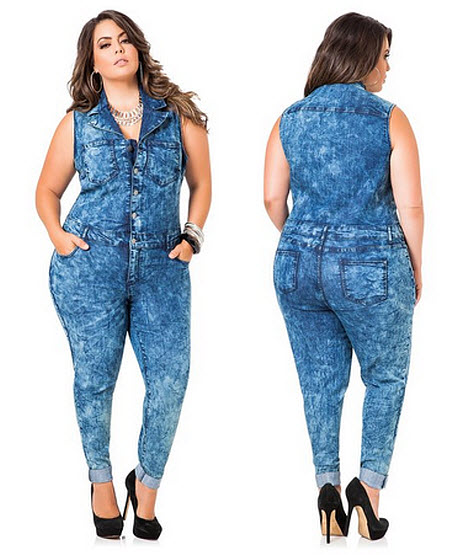 Plus-size denim jumpsuits - b