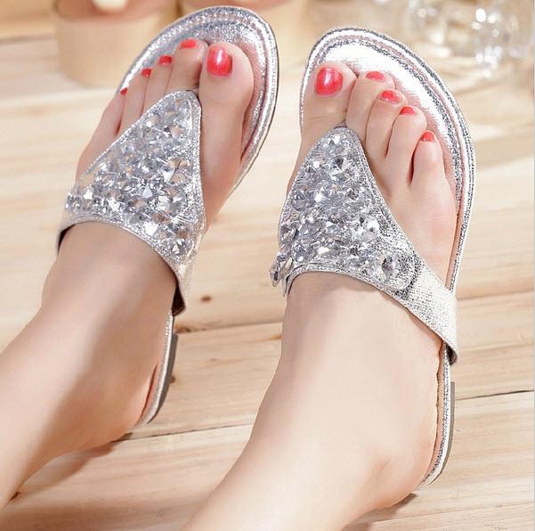 Silver flip flops with rhinestones - b
