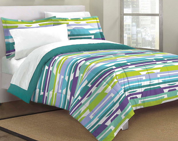 Teal and purple bedding - b