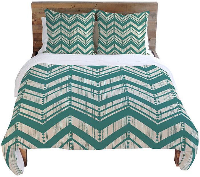 Teal chevron bedding - B