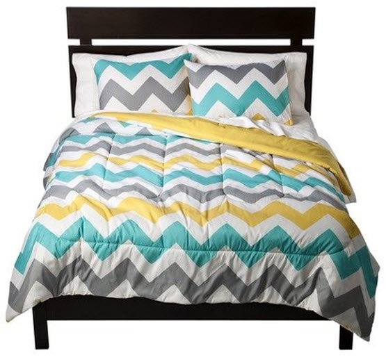 Teal chevron bedding - c