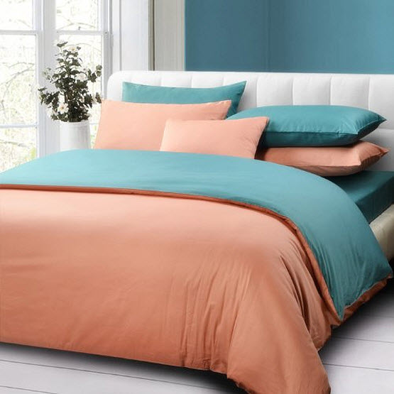 Turquoise and coral bedding - b