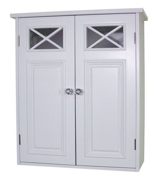 White bathroom storage cabinet - c