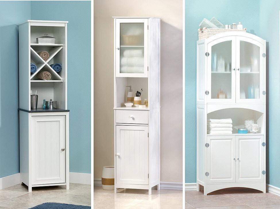 White bathroom storage cabinets - 2