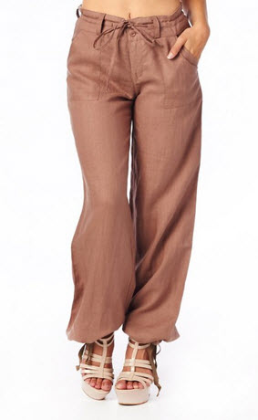 Womens drawstring linen pants - c