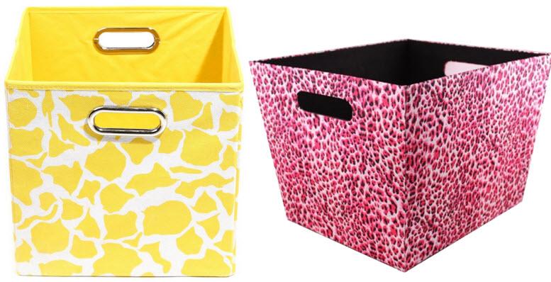 animal print storage bins