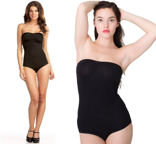 black strapless leotard