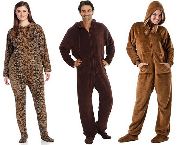brown footed pajamas for adults