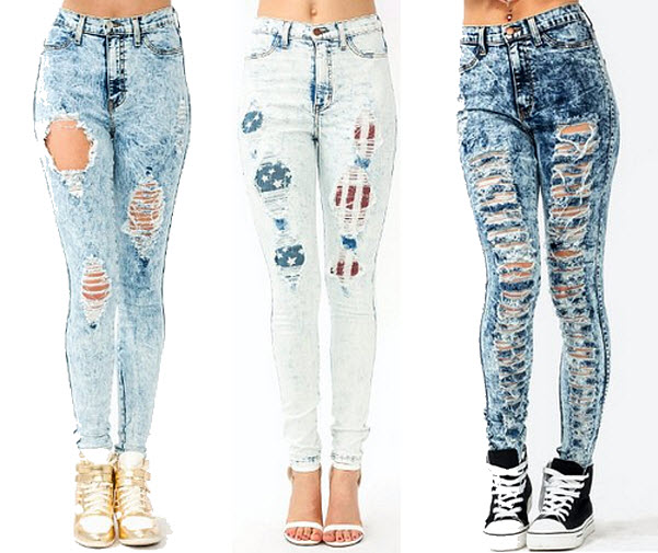 cut up jeans for women