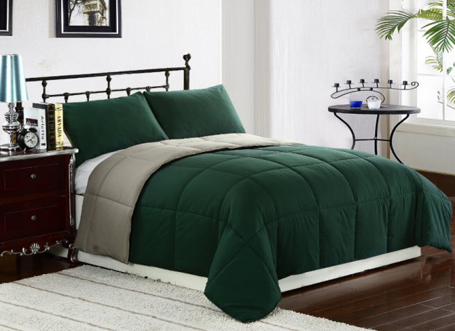 dark green bedspread