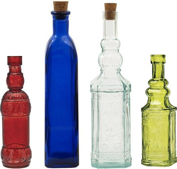 decorative glass bottles with corks