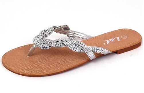 dressy silver flip flops