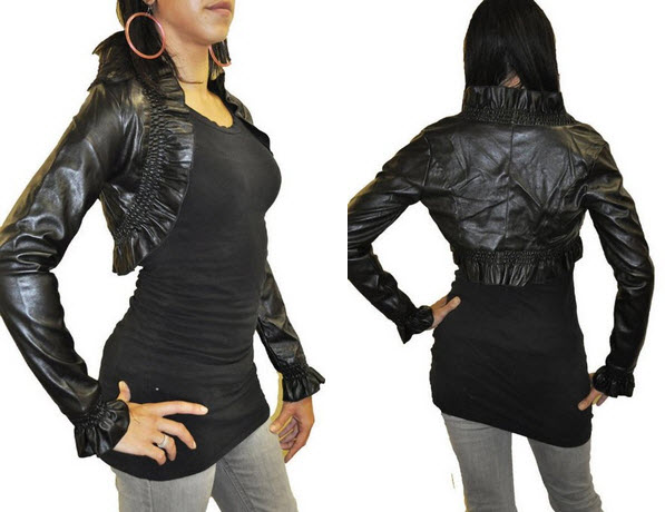 faux leather bolero