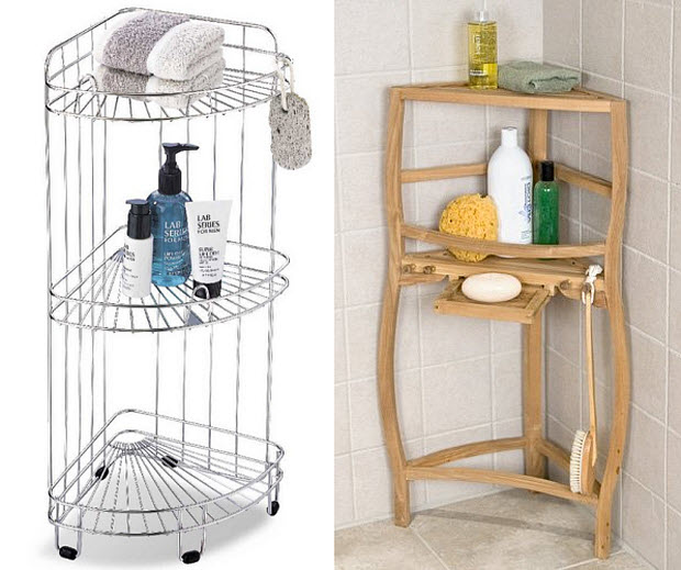 free standing shower shelves