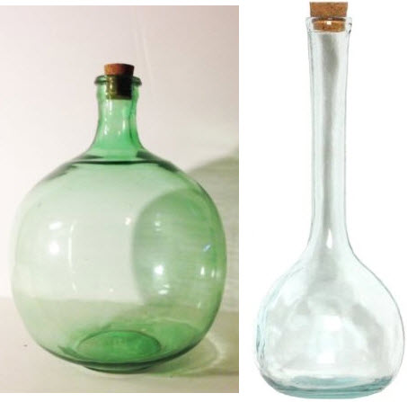 large glass bottles with corks