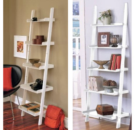 leaning ladder shelf white