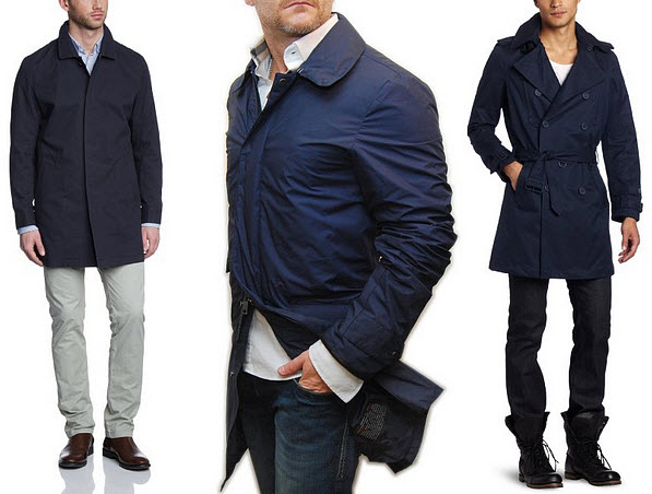mens navy blue trench coat