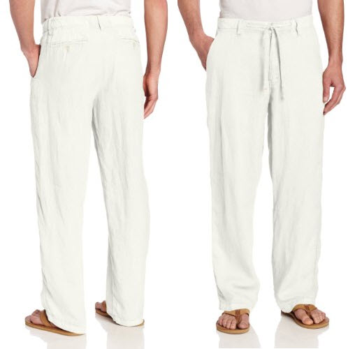 mens white linen beach pants