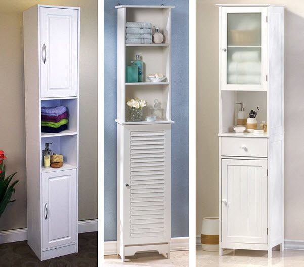 narrow white cabinet