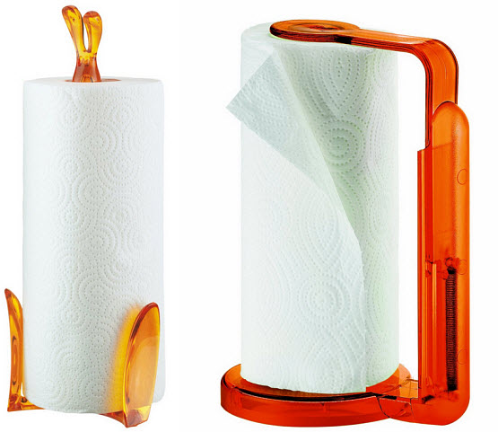 orange paper towel holder