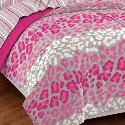 pink animal print bedding