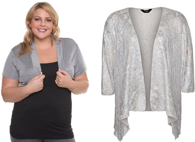 plus size silver shrug