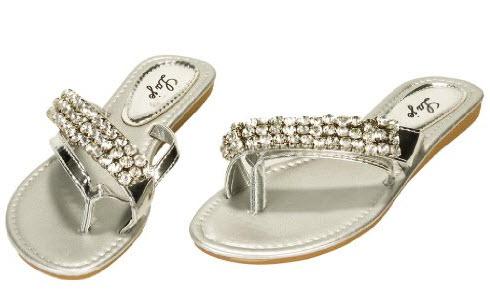 silver flip flops with rhinestones