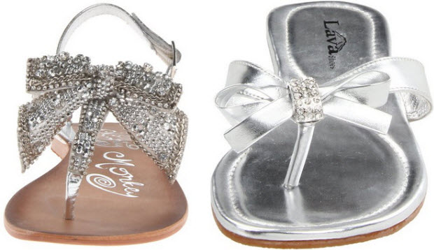 silver sandals with bow