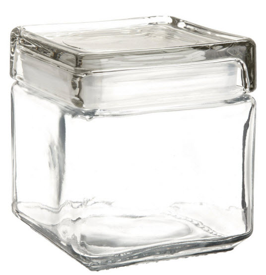 small square glass jars