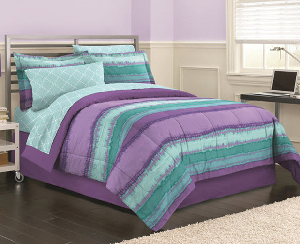 teal and purple bedding