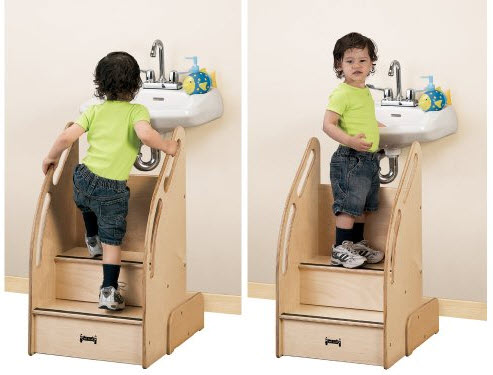 toddler step stool with rail