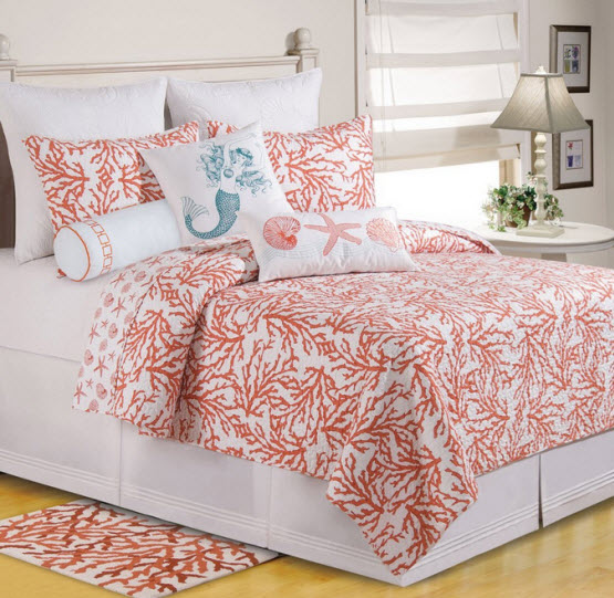 turquoise and coral bedding