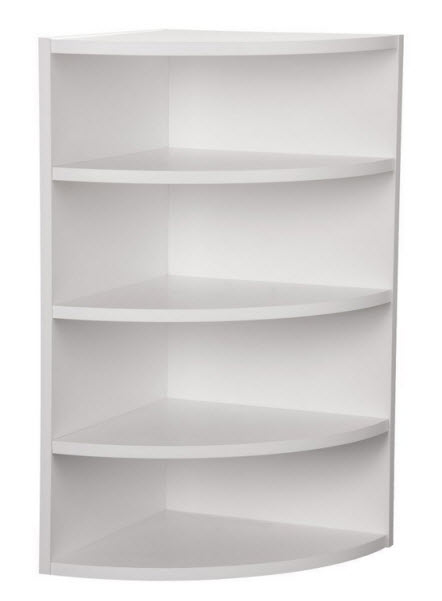 white corner shelving unit
