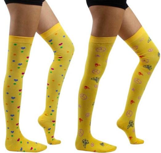 yellow thigh high stockings