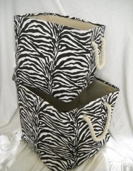 zebra print basket